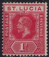 St Lucia 1912 - 21 KGV 1d Carmine Red Die 1 SG 79 ( H559 ) - St.Lucia (...-1978)