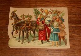 Découpi  XIXe. Le Père Noël Et Son Traîneau Avec Des Enfants. - Animaux