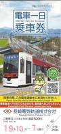 Japan / Japon - Nagasaki - One Day Tram Ticket - Used Ticket 2019 - Wereld