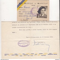 Fixe Petite Archive COB Boulogne Billancourt Section Boxe Et Tennis Année 1951 - Pugilato