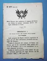 Decreto Regno Italia Costituzione Il Claino Con Osteno In Sezione Di Como 1884 - Vieux Papiers