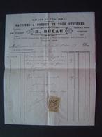 FACTURE Timbre Fiscal 1886 : ETS RUEAU - MACHINES A COUDRE HOWE & PEUGEOT / TOULON ( VAR ) - 1800 – 1899
