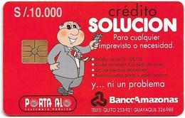 Ecuador - Porta - Banco Amazonas, Gem1B Not Symmetr. Red, 10.000Sucre, Used - Ecuador