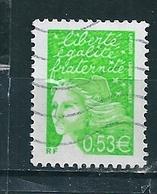 N° 3450 Marianne Du 14 Juillet 0.53 Vert-jaune  Timbre Stamp 2002  France Oblitéré - France