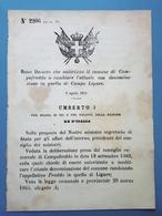 Decreto Regno Italia Denominazione Il Comune Di Campofreddo In Campo Ligure 1884 - Vieux Papiers