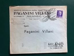 MILANO BUSTA INTESTATA SOCIETA' PEL COMMERCIO DEI COLONIALI DROGHE E MEDICINALI PAGANINI VILLANI 1942 - Milano