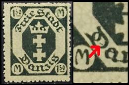 "Danzig (Crown-1922) 1.50 Mk. Error: A Dark Green-Colored Thin Line Found Inside Alphabet ""D"" *Mint) - Germany"