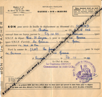 MILITAIRE : FEUILLE DE DÉPLACEMENT (1966) Vincennes, Les Mureaux, Saint-Lazare, 3° Cie Du Groupe De Circulation Routière - Biglietti Di Trasporto