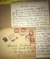 LAC Recommandée De Paris Datée Du 9 Juin 1944 ! 4 Timbres Petain Pour Bonnac La Cote (87) - France