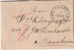 Thurn Und Taxis / 1823 / Vorphila-Brief K2 (ohne Jahreszahl) FRANKFURT Nach Mannheim (BE21) - [1] Precursores