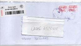 2018--Lettre Suivie Destinée -cachets Ronds Sur Paire Verticale De Tps Roulette-type Marianne Ciappa-Kavena LPrio- - Postmark Collection (Covers)