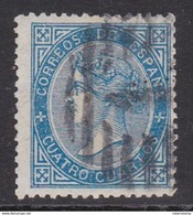 ESPAÑA 1867 - Isabel II Sello Usado 4 Cu. Azul Edifil Nº 88 - 1850-68 Reino: Isabel II