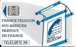 CARTE-PUBLIC-600 AGENCES-50U-Te11C.529.-SC4An-OFFSET Glacé-Trou 6--5 Ge 20999-0 Envers-UTILISE-TBE-RARE - France