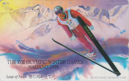Rare TC JAPON / 271-03717 - JO NAGANO - Série POSTER - SAUT A SKI - JUMP  OLYMPIC GAMES JAPAN Phonecard - 1 - Jeux Olympiques