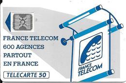 CARTE-PUBLIC-600 AGENCES-50U-Te11C.529.-SC4An-OFFSET Glacé-Trou 6--5 Ge 21003-1e 0 Envers-UTILISE-TBE-RARE - France