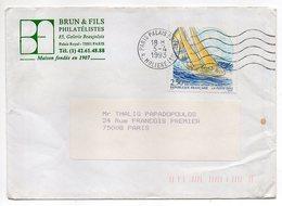 """1993--tp   """" Postiers Auour Du Monde (voile ) """" 2.50F ....seul Sur Lettre Personnalisée Brun & Fils  ... - Marcophilie (Lettres)"""