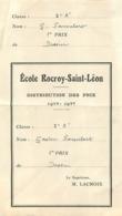ECOLE ROCROY SAINT LEON  PARIS RUE DU FAUBOURG POISSONNIERE 1938 1939   G.  FAMELART - Diploma & School Reports