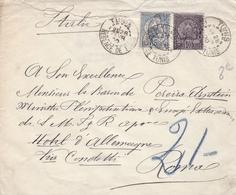 TUNISIE LETTRE DE 1900 TIMBRE 10 ET 15 CENTIMES  / ARMOIRIES / TAMPON A DATE TUNIS - Tunesien (1888-1955)