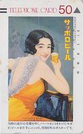TC Ancienne JAPON / 110-15553 A - BIERE & Jolie FEMME - Poster SAPPORO BEER & GIRL JAPAN Front Bar Phonecard - BIER  870 - Werbung