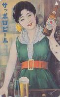 Télécarte JAPON / 110-016 - BIERE SAPPORO & Poster Femme - BEER & Girl JAPAN Phonecard - BIER & Frau - 873 - Werbung
