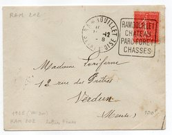 """1928--lettre De Rambouillet-78 Pour Verdun-55 -cachet Daguin""""Rambouillet,Chateau,Parc,Forêt,chasses""""type Semeuse Lignée - Marcophilie (Lettres)"""