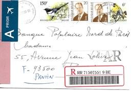 BELGIQUE / OISEAU / Enveloppe Recommandée  Avec 4 Timbres Dont  PIE BAVARDE YT 2695 De 1997 Voyagée 2000. - Cartas