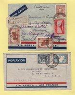Argentine - Lot De 2 Lettres Par Avion Via Air France Destination France - Poste Aérienne