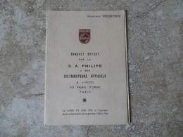 Menu PHILIPS Banquet Offert Par La SA Philips à Ses Distributeurs Officiels à L' Hôtel Du Palais D' Orsay 1953 - Menu
