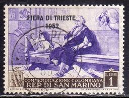 REPUBBLICA DI SAN MARINO 1952 FIERA DI TRIESTE FAIR LIRE 1 USATO USED OBLITERE' - Gebraucht