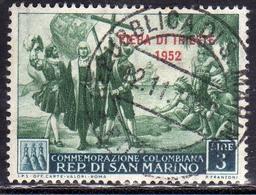 REPUBBLICA DI SAN MARINO 1952 FIERA DI TRIESTE FAIR LIRE 3 USATO USED OBLITERE' - Gebraucht