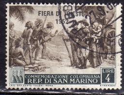 REPUBBLICA DI SAN MARINO 1952 FIERA DI TRIESTE FAIR LIRE 4 USATO USED OBLITERE' - Gebraucht