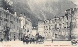 CHIAVENNA-SONDRIO-CASTELLO E HOTEL CONRADI(CARROZZA POSTALE)-CARTOLINA NON VIAGGIATA-ANNO 1900-1904 - Sondrio
