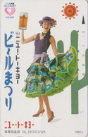 Télécarte JAPON / 110-011 - BIERE & Femme & CACTUS - BEER & Girl JAPAN Phonecard - BIER & Frau - 891 - Flores
