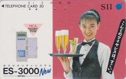 Rare Télécarte Ancienne JAPON / 110-011 - BIERE & Femme - BEER & Girl JAPAN Phonecard - BIER & Frau - 892 - Werbung