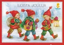 Postal Stationery - Elves Bringing Apples - Bird - Bullfinch - Godparents - Suomi Finland - Postage Paid - Arias Vernet - Finland
