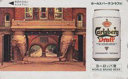 Télécarte JAPON / 110-016 - BIERE CARLSBERG / Denmark - BEER & ELEPHANT JAPAN Phonecard - BIER - CERVEZA - 901 - Werbung