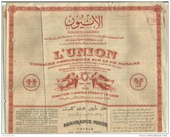 EGD21007 Egypt 1952 L'Union Mixed Insurance With Profits / Policy Document With Revenue - Historical Documents