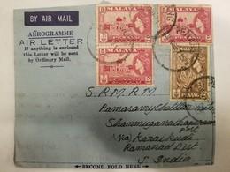 O) 1958 MALAYA . PENANG, QUEEN ELIZABETH II - TIGER . MOSQUE - AEROGRAMM TO INDIA - Penang
