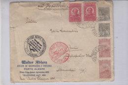 Zeppelinbrief Aus PORTO ALEGRE 24.7.34 Aus Berlin Mit Div. Stempeln / Erhalt!! - Brésil
