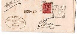 FRANCOBOLLO SU DOCUMENTO DA SIENA A PIENZA 1900 - 1900-44 Vittorio Emanuele III