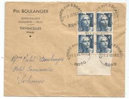 GANDON 4FR GRAVE BLOC DE 4 BDF LETTRE CONDE SUR ESCAUT 11.3.1949 NORD - 1945-54 Marianne Of Gandon
