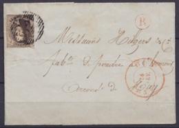 """LSC (sans Texte) Affr. N°6 P62 Càd HUY /24 FEV 1852 Pour CLERMONT - Boîte Rurale """"R"""" De Couthuin (au Dos: T18 NANDRIN) - 1851-1857 Medaglioni (6/8)"""