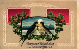 Geburtstag, Glücksklee, Vögel, Prägekarte, Um 1910 - Cumpleaños