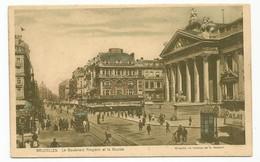 Brussel Tram Tramway Le Boulevard Anspach Et La Bourse Bruxelles - Avenues, Boulevards