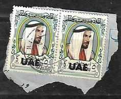 Overprinted UAE On Abu Dhabi 1972 Historic,SHEIKH ZAID 5 Fills Strip Of 2 - Abu Dhabi