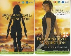 2 X Thailand Phonecard 12Call Movie Film Resident Evil Extinction - Kino