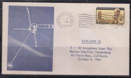 SPACE  - USA - 1964 - EXPLORER 22 INOSPHERE  COVER WITH  VANDENBERG OCT  9  1964 POSTMARK - Stati Uniti