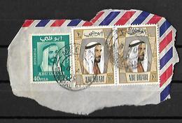 Abu Dhabi 1972 40 Fills, 10 Fills Historic,SHEIKH ZAID Strip Of 2 Used, - Abu Dhabi
