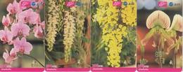 4 X Thailand Phonecard 12Call Blumen Flower Orchideen - Flores