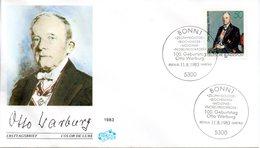 """BRD Schmuck-FDC """"100. Geburtstag Von Otto Warburg"""" Mi.1184 ESSt 11.8.1983 BONN 1 - FDC: Covers"""